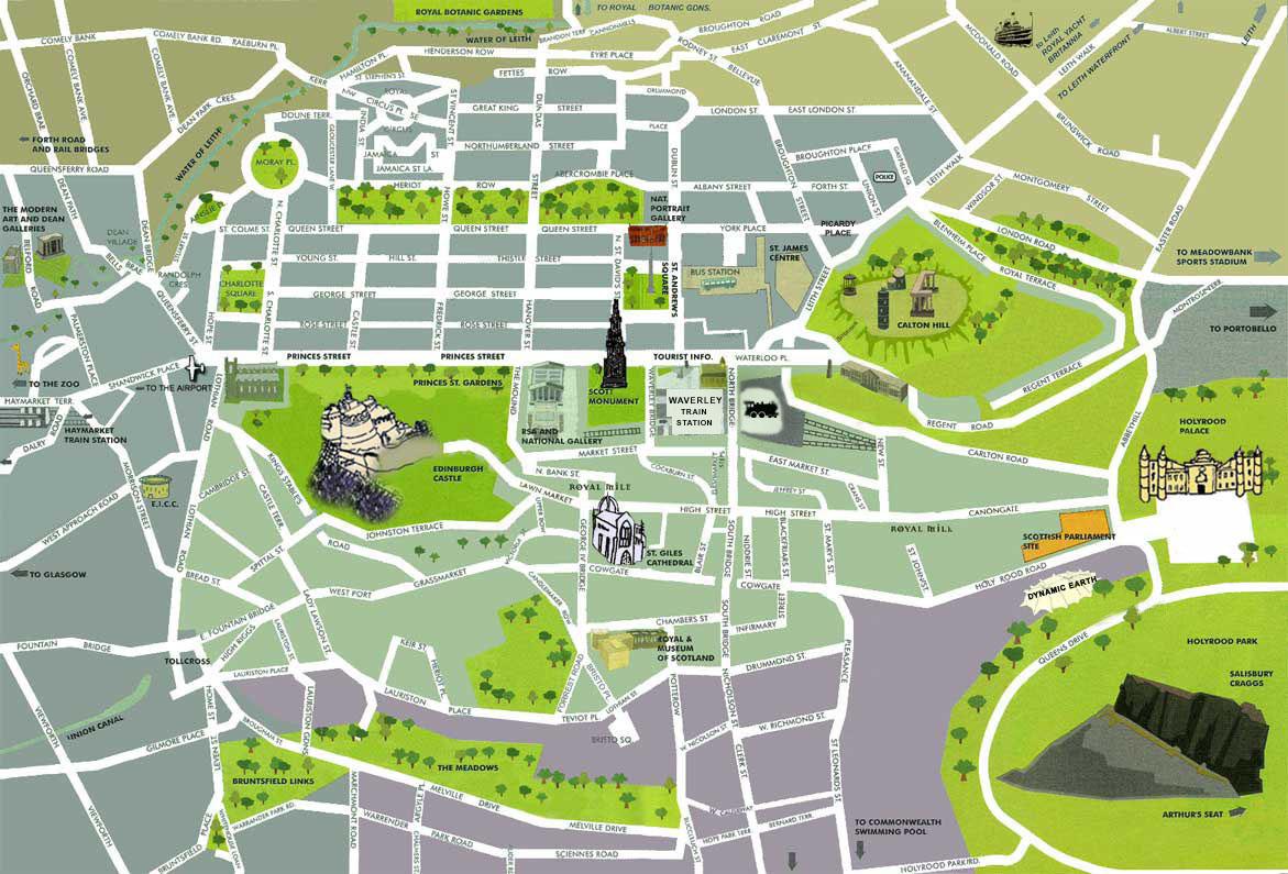 Visitar Edimburgo en 2 días: mapa de la Old Town y la New Town